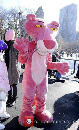 The Pink Panther promotes 'The Pink Panther 2' at Wollman Rink in Central Park New York City, USA - 31.01.09