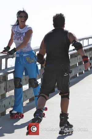 Peter Andre, Jordan, aka Katie Price, skating after leaving Venice Bike and Skates
