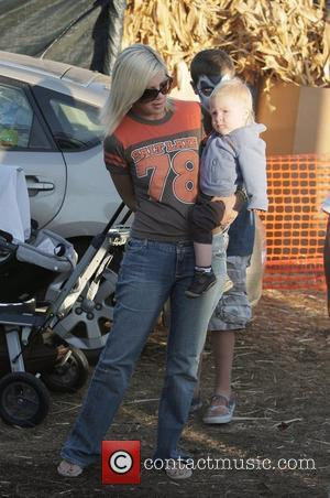 Tori Spelling and Son Liam At Mr. Bones Pumpkin Patch In West Hollywood