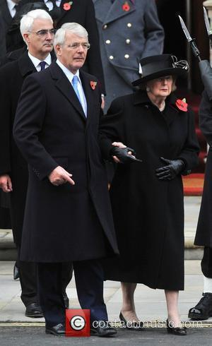 John Major and Baroness Margaret Thatcher Remembrance Sunday memorial service held at the Cenotaph London, England - 09.11.08