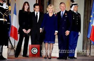 Carla Bruni-Sarkozy, President Nicolas Sarkozy, Camilla, Duchess of Cornwall and Prince Charles, Prince of Wales attend a private dinner, hosted...