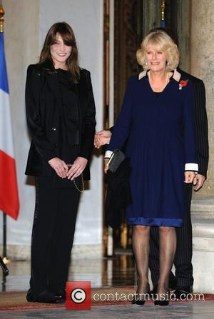 Carla Bruni-Sarkozy and Camilla, Duchess of Cornwall attend a private dinner, hosted by the French president and his wife at...