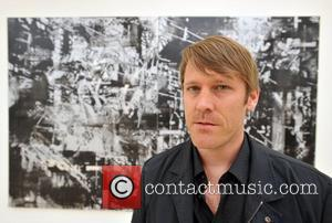 John Bauer with his work 'Black Flag 2007' Abstract America: New Painting And Sculpture - press view held at The...