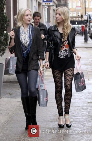 Samantha Marchant and Amanda Marchant leaving the Lipsy store carrying lots of shopping bags London, England - 04.03.09