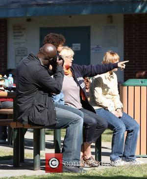 Seal, Johan Samuel and Erna Klum Seal takes his children to a soccer practice at a park in West Hollywood...