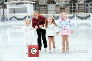 Jayne Torvill joins ice-skating stars of the future at the launch of Somerset House Skate School at Somerset House London,...
