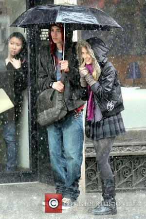 Jay Baruchel and Teresa Palmer on the set of their new movie 'The Sorcerer's Apprentice' filming in Manhattan New York...