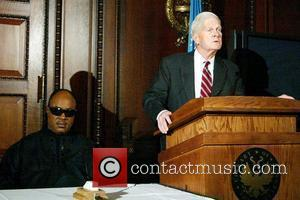 Stevie Wonder and Librarian of the US Congress James H. Billington