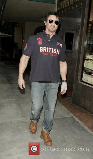 Sylvester Stallone visits a medical building wearing a British Polo Team T- shirt. Los Angeles, California, USA - 02.03.09
