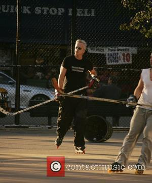 Tim Robbins plays a game of street hockey in Manhattan. With the US elections close, The Oscar winning actor shows...
