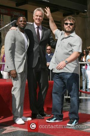 Derek Luke, Tim Robbins and Jack Black Tim Robbins is honoured with with a star on Hollywood Walk of Fame...