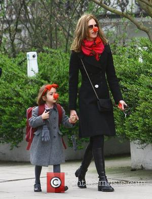 Trinny Woodall taking her daughter Lyla to school on Red Nose Day. Both Trinny and Lyla are sporting their red...
