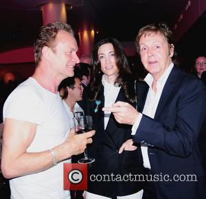 Sting, Nancy Shevell and Paul McCartney, attend the press night for 'Waiting for Godot' at the Haymarket Hotel London, England...
