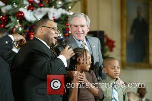 George W. Bush holds the final White House Children's Christmas event in the East Room of the White House welcoming...