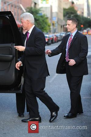 Former US President Bill Clinton  outside Comedy Central studios after an appearance on 'The Daily Show with John Stewart'...