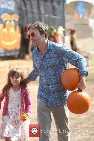 Breckin Meyer  takes his daughter Keaton Willow Meyer to the Mr. Bones Pumpkin Patch to pick out a pumpkin...