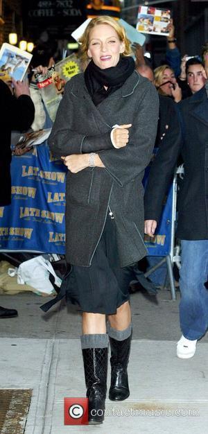 Uma Thurman and David Letterman