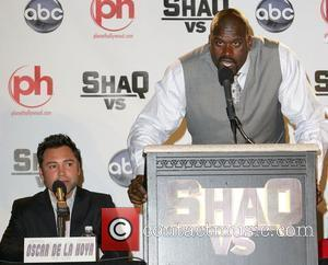 Shaquille O'Neal, Oscar De La Hoya Press conference for the ABC television series 'Shaq vs' at the Planet Hollywood Hotel...