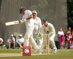 Eric Clapton, Joe Kinnear, Perry Groves Bunbury charity cricket match - Cranleigh v Eric Clapton X1 Surrey, England - 12.07.09