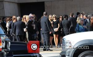 Marla Maples  attends the funeral service for actress Farrah Fawcett at the Cathedral of Our Lady of the Angels...