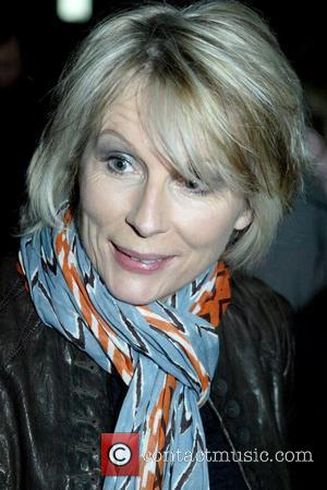 Jennifer Saunders from the comedy duo French & Saunders outside the Capitol Theatre with fans after performing on their 'Still...