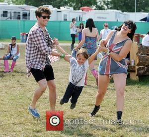 Nick Grimshaw and Pete Doherty's son Astile Doherty backstage during the 2009 Glastonbury Festival - Day 2 Somerset, England -...