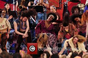 The cast of the Broadway Musical 'Hair' performs live on 'Good Morning America's Summer Concert Series' in Central Park New...