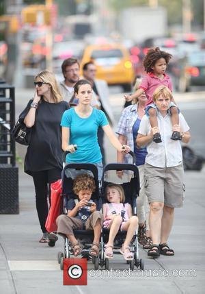 Heidi Klum and family walking in Greenwich Village