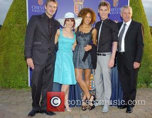 Hollyoaks actors Ashley Taylor-Dawson who plays Darren Osborne, Ashley Taylor-Dawson who plays Darren Osborne and Jessica Fox who plays Nancy...