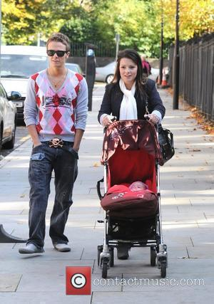 Jack P. Shepherd and his girlfriend Lauren Shipley take their baby for a walk Manchester, England - 12.10.09