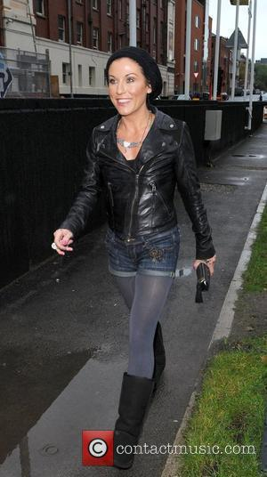 Jessie Wallace on her way to Caluccio's Restaurant for some take away food after leaving the Manchester Opera House, where...
