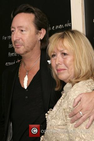 Julian Lennon and Cynthia Lennon attend the opening of 'White Feather: The Spirit of Lennon' at the Liverpool Beatles Story...