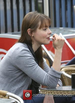 Kate Ford has coffee outside after leaving the London Studios London, England - 29.10.09