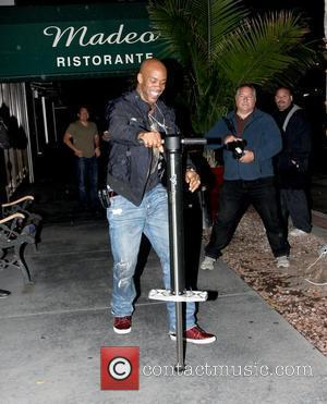 Stephon Marbury has a go on a pogo stick in front of Madeo Los Angeles, California - 05.06.09