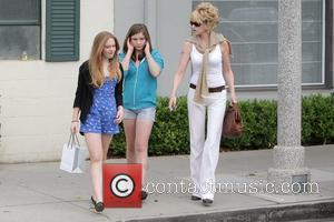 Melanie Griffith, Her Two Daughters, Dakota Johnson, Stella Banderas and Leaving Neil George Salon In Beverly Hills