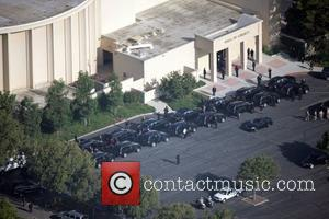 Aerial view of the funeral of the King of Pop, Michael Jackson, at Forest Lawn in the Hollywood Hills Los...