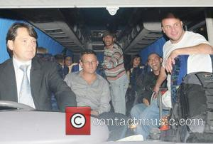 Katie Price and friends on a minibus leaving Movida