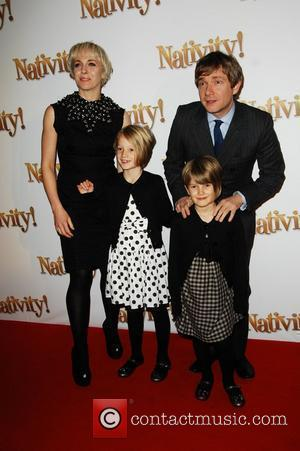 Martin Freeman with wife and daughters attends premiere of 'Nativity' at The Barbican London, England - 25.11.09