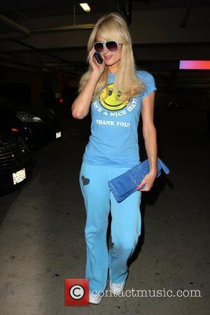 Paris Hilton seen arriving at the gym wearing all blue. Los Angeles, California - 02.11.09