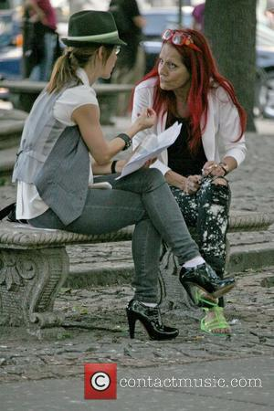 Patricia Field during an interview on the set of 'Sex and the City 2' filming on location in Manhattan New...