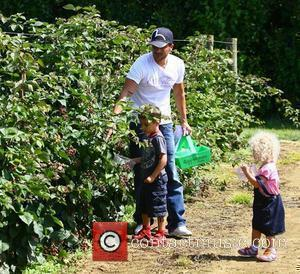Peter Andre takes his children Junior and Princess to Roundstone pick-your-own farm in Worthing, where they spent the morning picking...