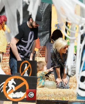 Jordan Bratman, Christina Aguilera and son Max visit Mr. Bones Pumpkin Patch in West Hollywood Los Angeles, California - 11.10.09