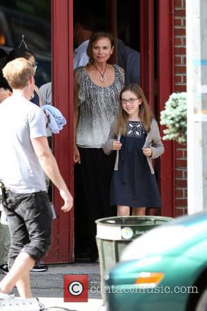 Lena Olin and Ruby Jerins on the set of his new film 'Remember Me' shooting in Queens New York City,...