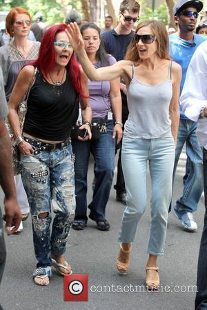 Fashion stylist Patricia Field and Sarah Jessica Parker on the set of 'Sex and the City 2' filming on location...