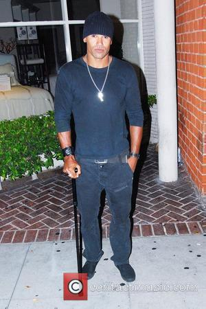 'Criminal Minds' star Shemar Moore seen outside Mr Chow restaurant in Bevelry Hills with a cane. Shemar suffered a broken...