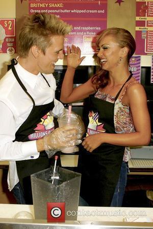 Aaron Carter and Karina Smirnoff visit 'Millions of Milkshakes' to create their own milkshake West Hollywood, California - 23.09.09