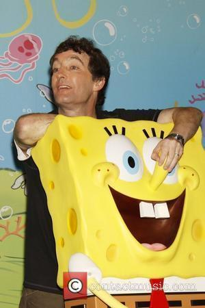 Tom Kenny, voice of SpongeBob attends the unveiling of a SpongeBob SquarePants wax figure in honor of the 10th anniversary...