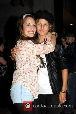 Alexa Ray Joel hugs her half-brother Jack Cook  after her Father's Day performance at Stephen Talkhouse Amagansett, New York...