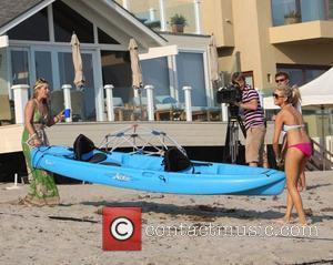 Holly Montag and Stephanie Pratt filming The Hills on Malibu beach