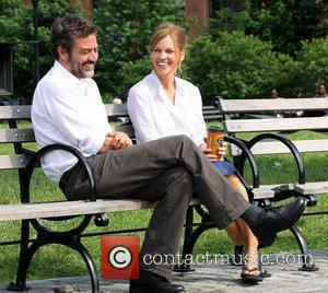 Jeffrey Dean Morgan and Hilary Swank on the set of 'The Resident' filming on location in Brooklyn New York City,...